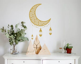 Gold Moon Wall Decal-Nursery Wall Decals-Kids room Wall decals-Moon Vinyl Decals-Flower Nursery Decor-Dorm decor-Wall decals for bedroom