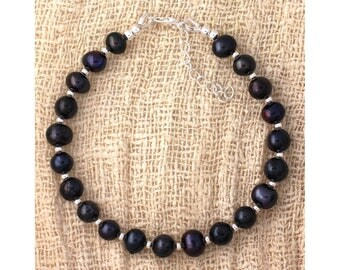 Black cultured pearls and 925 sterling silver beads bracelet