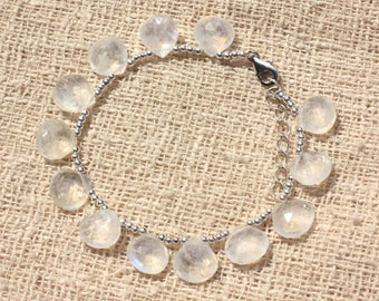 Sky faceted 925 sterling silver and Rainbow Moonstone bracelet