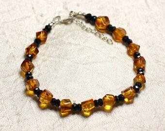 Silver 925 black spinel stone and amber bracelet natural 5-8mm