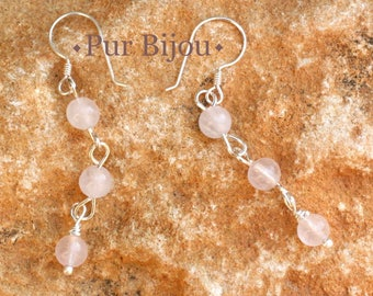 Stone - 4mm Rose Quartz and 925 Sterling Silver earrings