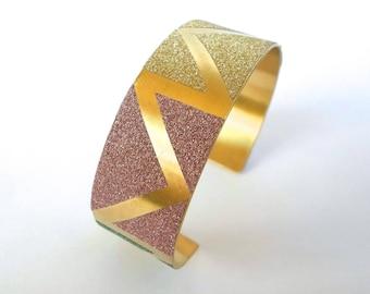 Geometric triangles pastel glittery effect gold Cuff Bracelet