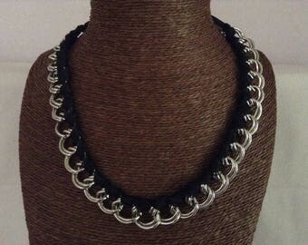 double necklace silver chain links and black ribbon