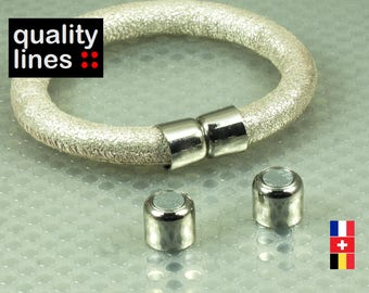 Silver magnetic clasp for leather bracelet 9mm round