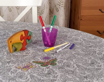 Creative colour me in tablecloth in Butterfly design