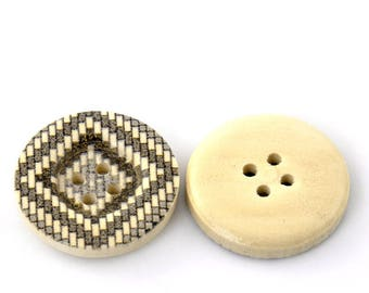 5 buttons wood light brown square decor - 25 mm - 4 holes