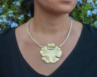 Organic jewelry, linen necklace, flower necklace, linen jewelry, brass pendant, gift for woman, fold forming, flower gold color,