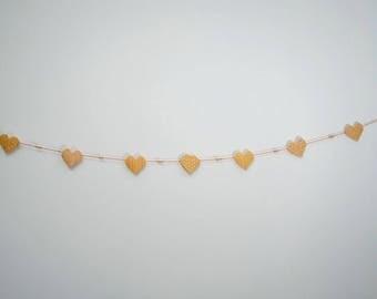 Origami - Orange hearts paper Garland
