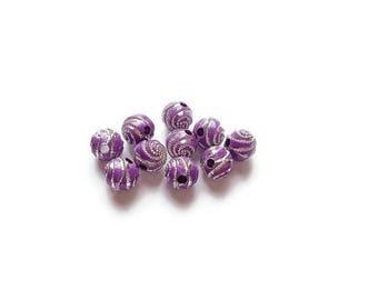 Spiral purple 8mm round beads