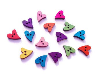 Hearts x 15 wooden buttons