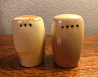 Vintage Frankoma MCM Plainsman Brown Salt & Pepper Shaker Set