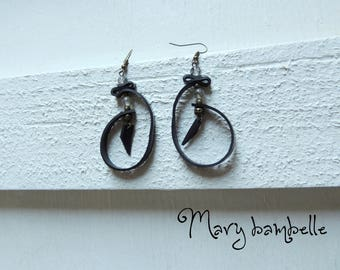 Earrings creole ethnic stone with recycled tractor inner