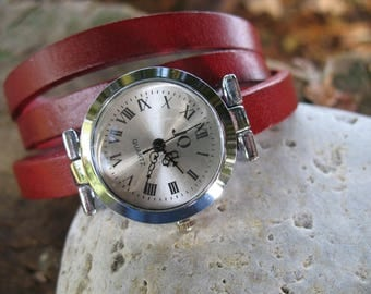 Red leather wrap watch