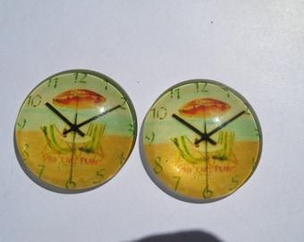 "2 cabochons 25 mm vintage clock theme ""Beach"""