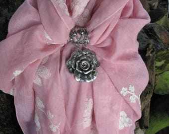Pink jewelry scarf and flower