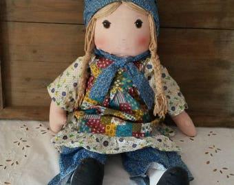 Great vintage Holly Hobbie rag doll / 70s/80s