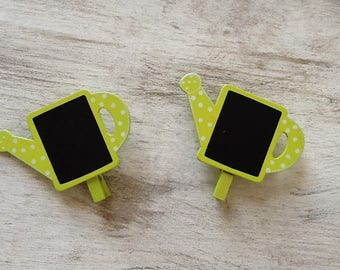 Set of 2 clips wood black and lime green watering can