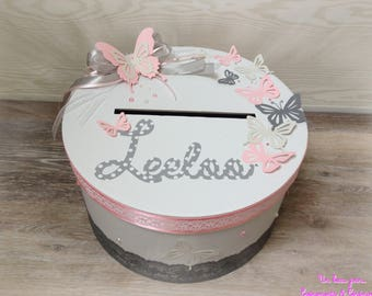 Personalized Butterfly theme pink and gray baptism urn