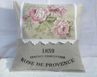 Removable cushion old roses metis and linen paint lettering