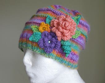 Knit Girls Hat with Flowers Multicolor Spring Children's Hand Knitted Hat Knit Accessories Multi colored Warm Hat Girls Gifts