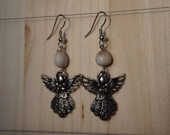 earrings with job's tears and Angel