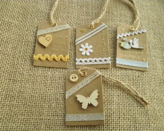 Set of four gift tags, handmade, different home decors