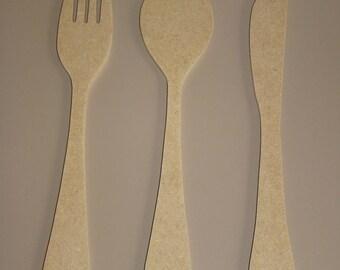 Fork, spoon, knife medium MDF wooden 28 cm customize