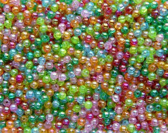 Bag of 300 (8, 80g) Acrylic round beads bright multicolored 4mm