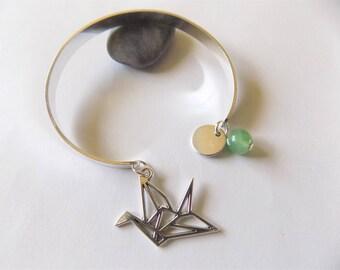 origami crane Bangle Bracelet