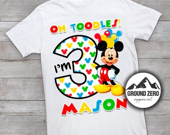 Mickey Mouse Birthday Shirt - Personalized with Name and Age - Mickey Mouse Birthday Tee - Custom Birthday Shirt