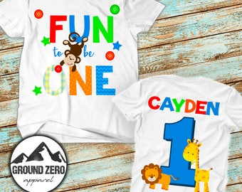 Fun to Be 1 Birthday Shirt - Personalized with Name and Age - 1st First Birthday Tee - Custom Birthday Shirt