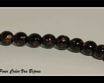 Set of 50 Brown mottled 8 mm glass pearls