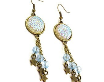 Blue iridescent #strass pendants earrings.