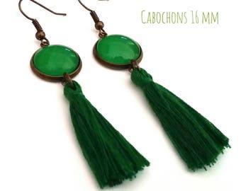 Earrings retro vintage United green tassel pendants