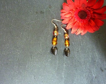 caramel and Brown bead earrings