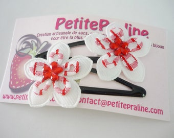 White and red flower Hair clips barrettes