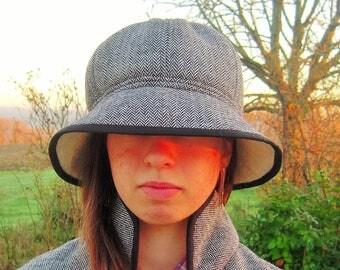 Cloche hat for women, Chevron pattern