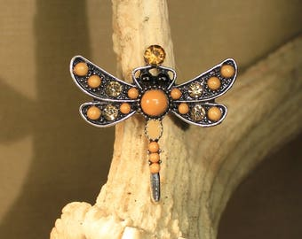 """Ring adjustable Dragonfly""""yellow"""" nature, steampunk, retro, fantasy,"""