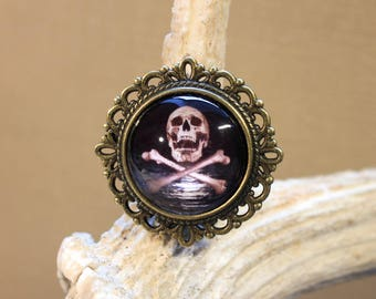 "Adjustable ring ""pirate skull"" retro, steampunk"