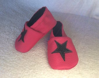 "Ballet shoe pink faux leather ""Star"""