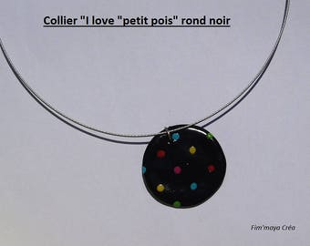 Black round cable necklace with multicolored dots