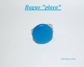 Round Adjustable ring turquoise and Pacific