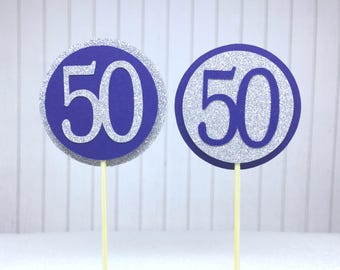 """50th Birthday Cupcake Toppers - Silver Glitter & Navy Blue """"50"""" - Set of 12 - Elegant Cake Cupcake Age Topper Picks Party Decorations"""