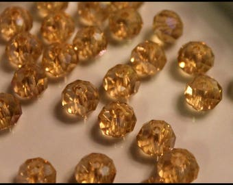 x 10 beads oval faceted #R40 - Champagne - iridescent - 6x8mm - Crystal from Austria