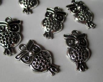 x 1 charm - OWL OWL night bird - silver - jewelry customization