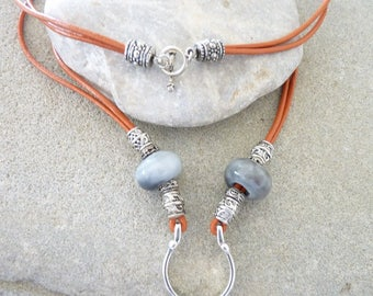 GLASSES NECKLACE, leather and beads
