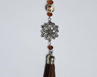 Brown tassel bag/key charm