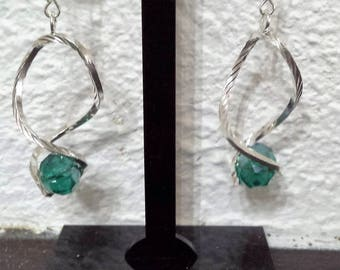 Earrings green crystal glass waves