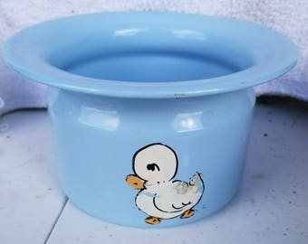 Blue Baby Bowl with a Duck