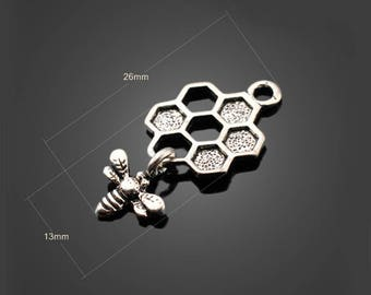 50pcs 13*26mm Antique Silver Bee And Honeycomb Charms Alloy Pendants Setting Jewelry Metal Findings Handmade Supplies Wholesale YZ-SH1634